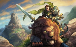 Picture mountains, stones, castle, predator, sword, Leo, warrior, art, male, rider, World of Warcraft
