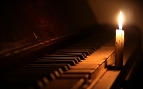Picture music, candle, piano