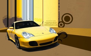 Wallpaper treatment, Porsche, yellow