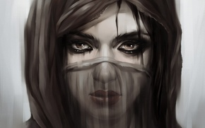 Picture eyes, Girl, mask, the veil