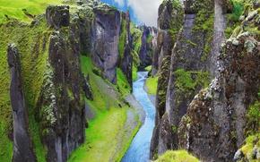 Picture greens, river, rocks, canyon, Iceland, canyon, Fjadrargljufur