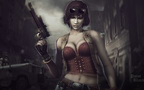 Picture girl, Weapons, girl, weapon, point blank, Point blank