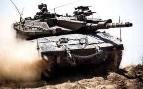 Picture dust, tank, combat, Merkava, main, Merkava, Israel