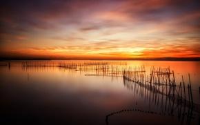 Picture twilight, sunset, lake, evening, dusk, reflection, fishing net