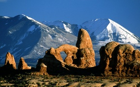 Picture the sky, mountains, rocks, arch, Utah, USA, arches national park