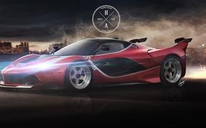 Picture Speed, Ferrari, Movement, Sparks, Ferrari, Supercar, The front, FXX K