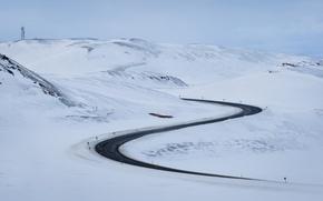 Wallpaper winter, road, snow, landscape, mountains