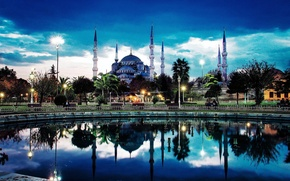 Picture the city, the evening, mosque, minarets, Istanbul