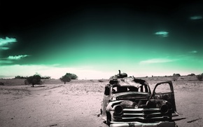 Wallpaper green, black and white, old age, past, desert, ago, fatigue, machine, rusty, Saitoti, time, loneliness