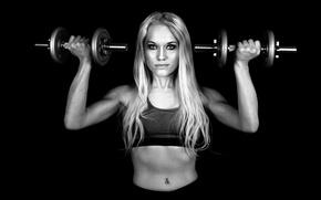 Picture girl, face, dumbbells, fitness