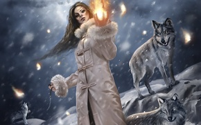 Picture winter, girl, fantasy, wolves, the magic of fire