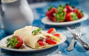 Picture berries, strawberry, berries, pancakes, pancakes, strawberries, A delicious dessert, Delicious dessert