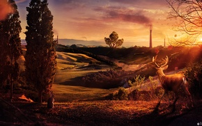 Picture trees, sunset, pipe, hills, deer, glow, desktopography, Seitz