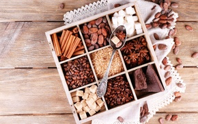 Picture coffee, chocolate, grain, sugar, nuts, cinnamon