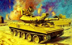 Picture weapon, war, art, painting, tank, M551 Sheridan, desert storm, gulf war