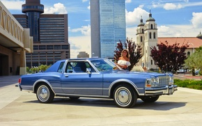 Picture girl, the city, background, Dodge, Coupe, the front, 1979, Diplomat, Medallion