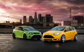 Picture Ford, Yellow, The city, Green, Machine, City, Focus, Cars, Green, Yellow, Fiesta, Cars, RS 500