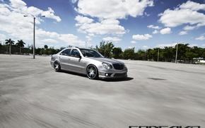 Picture machine, auto, clouds, Mercedes Benz, auto, Black, Matte, Wheels, Concave, CW-S5, E-500