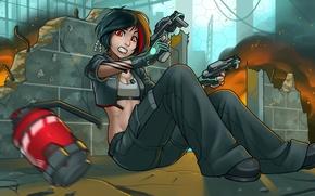 Picture girl, fright, fire, guns, pomegranate, anime, shelter, art, destruction, shootout