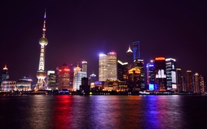 Picture lights, reflection, river, China, skyscrapers, backlight, China, Shanghai, Shanghai, night city, promenade, megapolis
