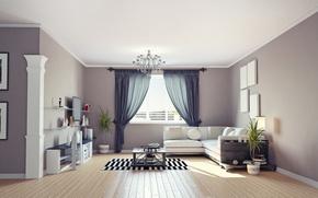 Picture room, sofa, furniture, interior, window