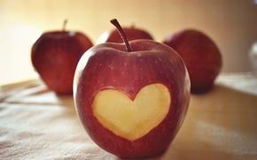 Picture macro, love, creative, mood, heart, apple, Apple, fruit, love, heart, heart, feeling, 14 Feb, Valentine's …