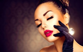 Picture girl, face, model, makeup, ring, decoration, Anna Subbotina