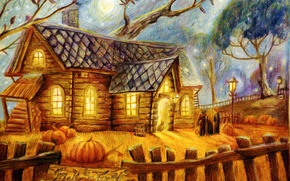 Picture trees, house, people, the moon, the fence, lights, pumpkin, Halloween, halloween