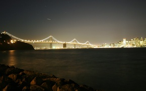Wallpaper river, night, Bridge