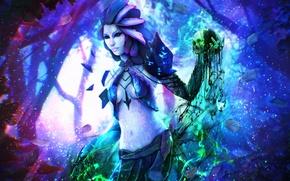 Picture forest, girl, skull, MAG, Guild Wars 2, art, Necromancer, Sylvari, Kirei Wa