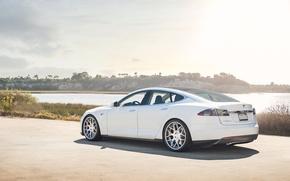 Picture white, sedan, model s, tesla