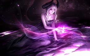 Picture girl, magic, butterfly, glow, art, horns, demoness, purple, schema College
