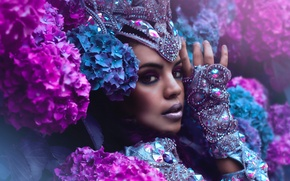 Picture look, girl, decoration, flowers, face, style, makeup, hydrangea, Yazzmin