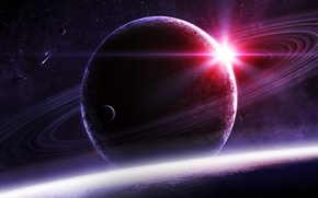 Picture space, star, planet, satellite, ring, art, giant, meteorites