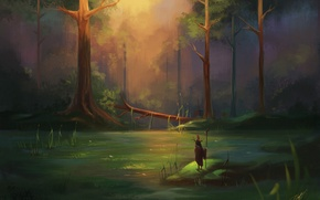 Picture forest, bird, people, swamp, art, Tina, staff, Lotus, painted landscape