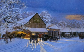 Picture winter, snow, horses, the evening, painting, carts, Dave Barnhouse, The Gathering Place, County Auction, auction