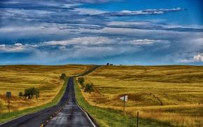 Wallpaper road, field, autumn, the sky, grass, hills, space, USA, Ne