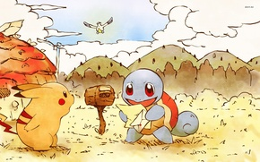 Picture letter, figure, Pikachu, pokemon, pokemon, Pikachu, squirtle, Inbox, squirtle, wingull, kidney