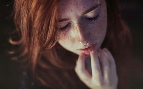 Picture eyelashes, portrait, freckles, the red-haired girl