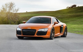 Picture Audi, Orange, Wheels, Strasse, Samo, r8