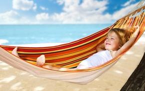 Picture sea, beach, summer, stay, child, hammock, girl, resort