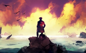 Picture sea, sunset, people, Dominik Mayer