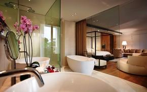 Picture glass, interior, bedroom, bathroom