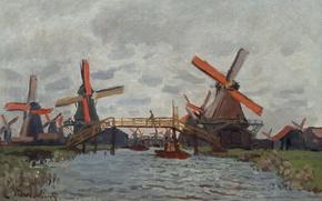 Picture landscape, picture, Claude Monet, Windmills near Zaandam