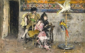 Picture picture, genre, Giovanni Boldini, Couple in Spanish dress with Two Parrots