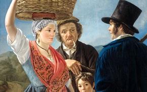 Picture people, basket, picture, genre, Jean Henri de Coene, News from the Market