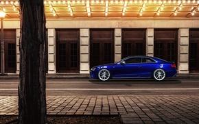 Picture night, blue, the city, Audi, Audi, profile, blue, coupe