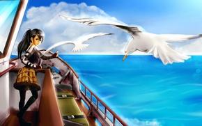 Picture sea, girl, birds, ship, seagulls, art, food