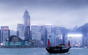 Picture city, China, river, skyline, sky, sea, water, skyscraper, fog, Hong Kong, boat, harbour, mist