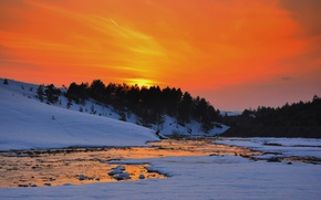 Picture twilight, river, sunset, winter, snow, dusk, reflection, freeze, frost